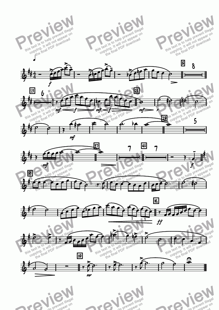 page one of the Alto 1 part from Legend Lost  (Remembering Maynard Ferguson)