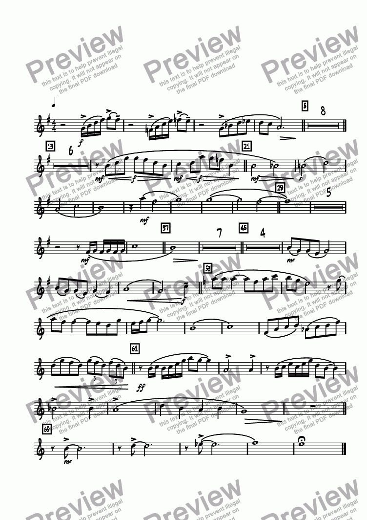 page one of the Tenor 1 part from Legend Lost  (Remembering Maynard Ferguson)