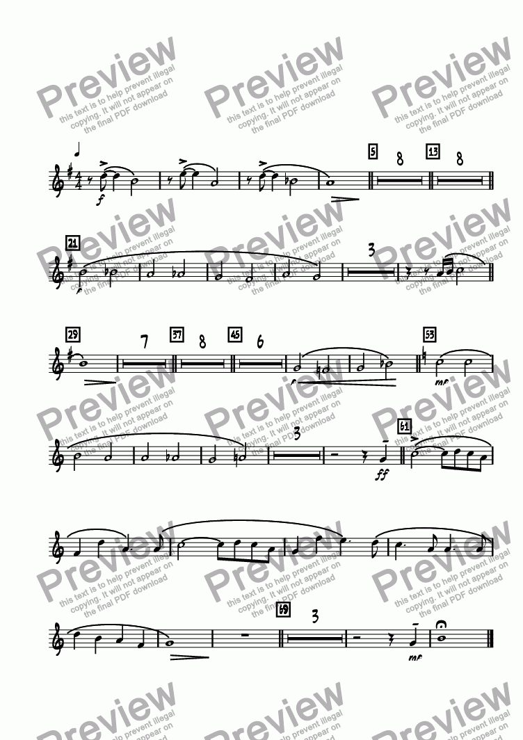 page one of the Trumpet 3 part from Legend Lost  (Remembering Maynard Ferguson)