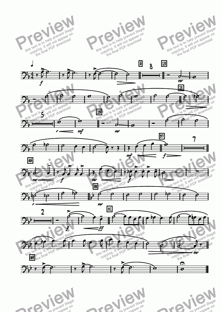 page one of the Trombone 3 part from Legend Lost  (Remembering Maynard Ferguson)