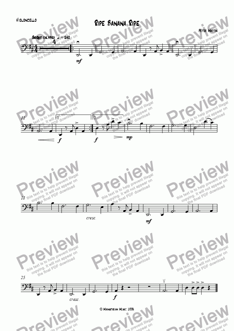 page one of the Cello part from Ripe Banana Ripe