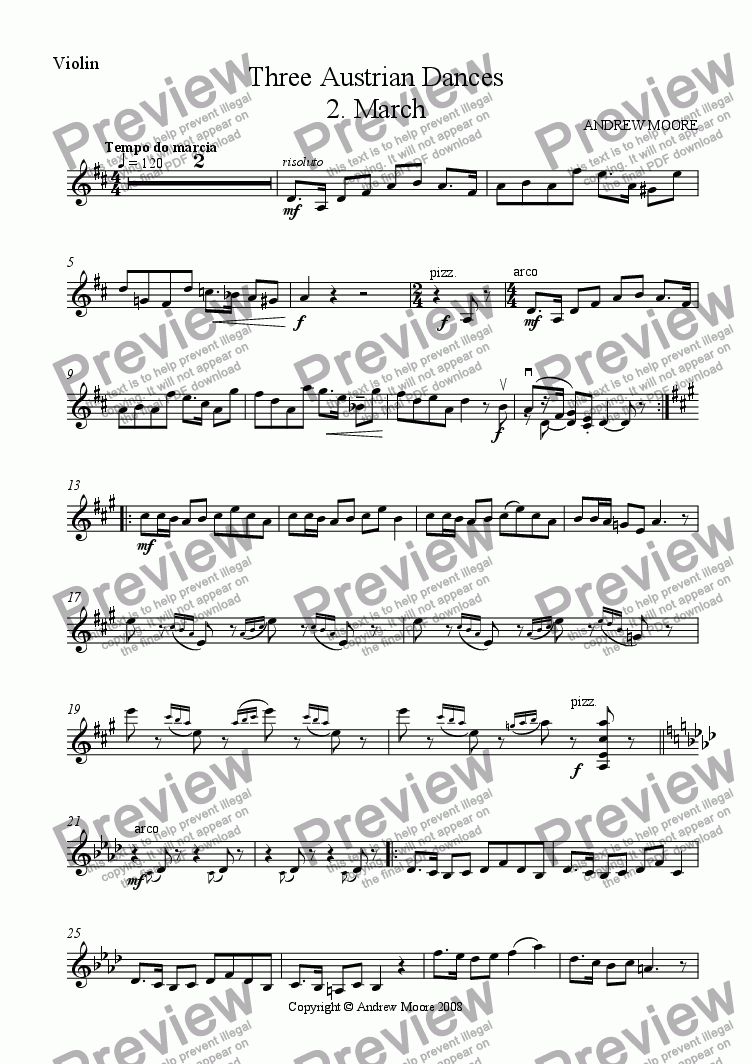 page one of the violin part from Three Austrian Dances - No 2 - March for Violin & Piano