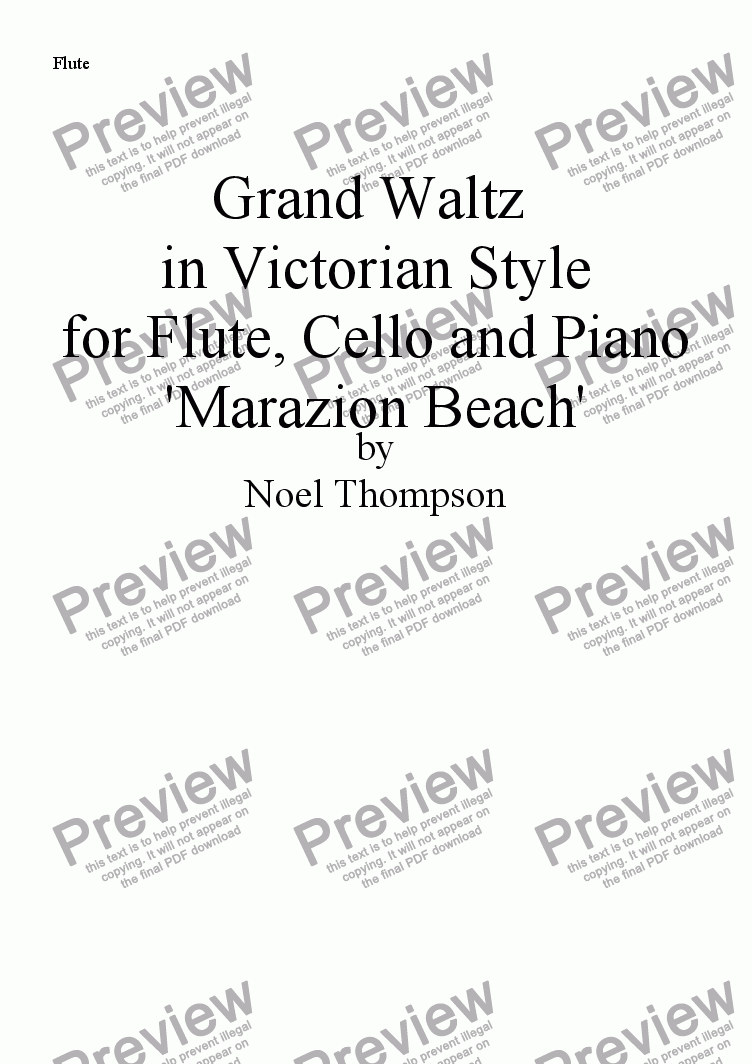 page one of the flute part from Grand Waltz in Victorian Style - flute,cello & piano (edited)