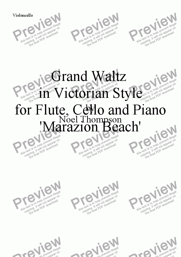 page one of the violoncello part from Grand Waltz in Victorian Style - flute,cello & piano (edited)