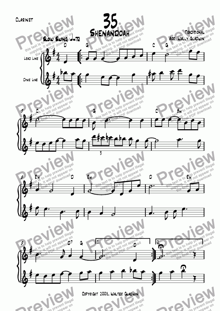 page one of the Clarinet part from Dixiechart 35. Shenandoah
