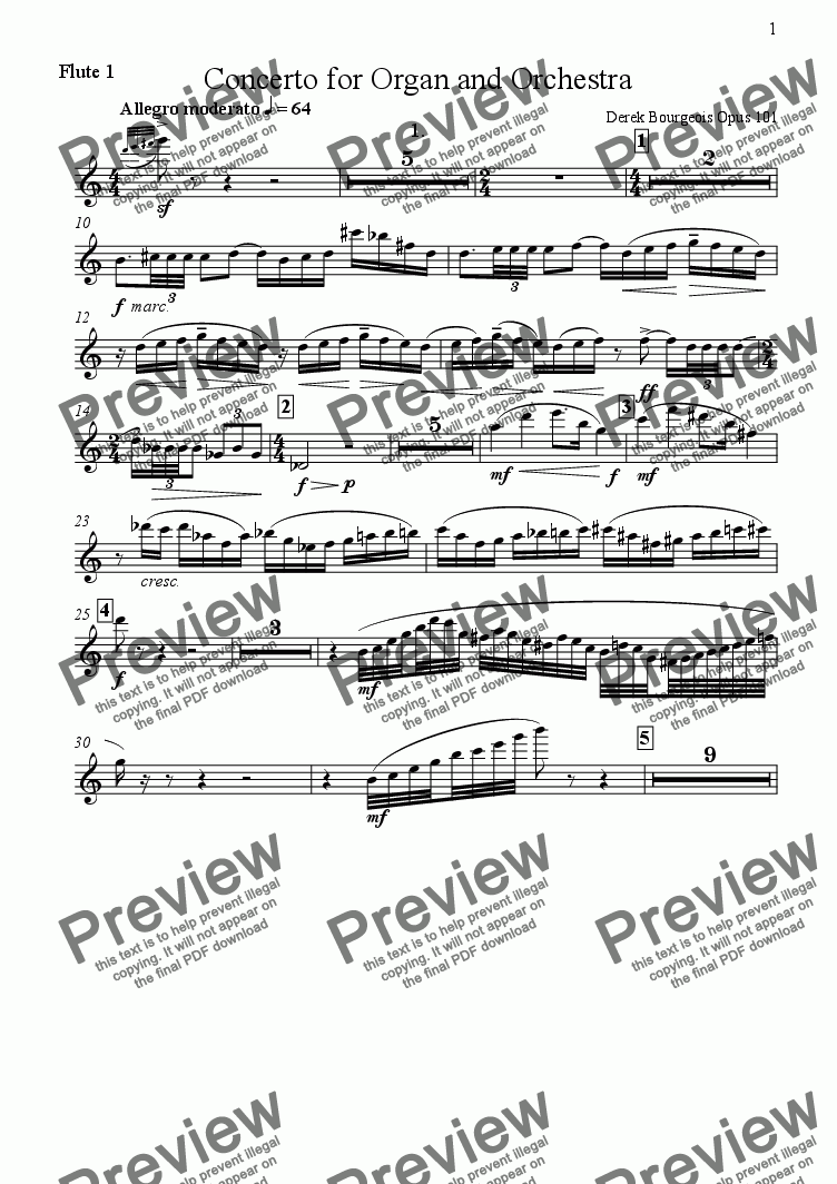 page one of the Flute 1 part from Concerto for Organ and Orchestra 1st movementOpus 101