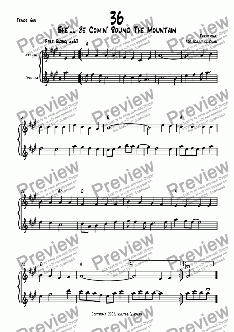 page one of the Tenor Sax part from Dixiechart 36. She'll Be Comin' Round The Mountain