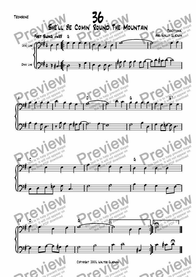 page one of the Trombone part from Dixiechart 36. She'll Be Comin' Round The Mountain