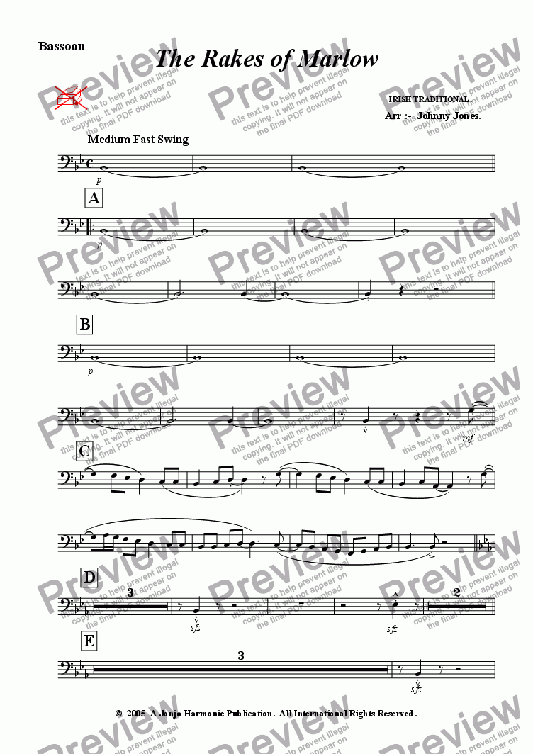 page one of the Bassoon part from Rakes of Marlow The   (Concert Windband, Swing Style)