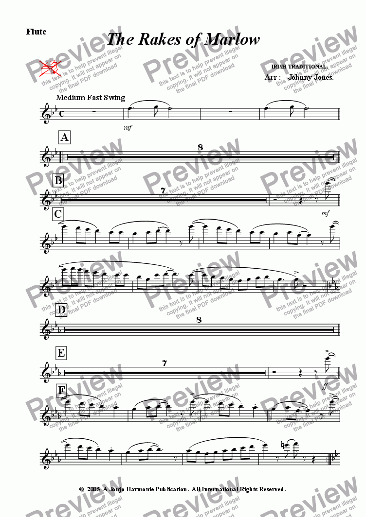 page one of the Flute part from Rakes of Marlow The   (Concert Windband, Swing Style)