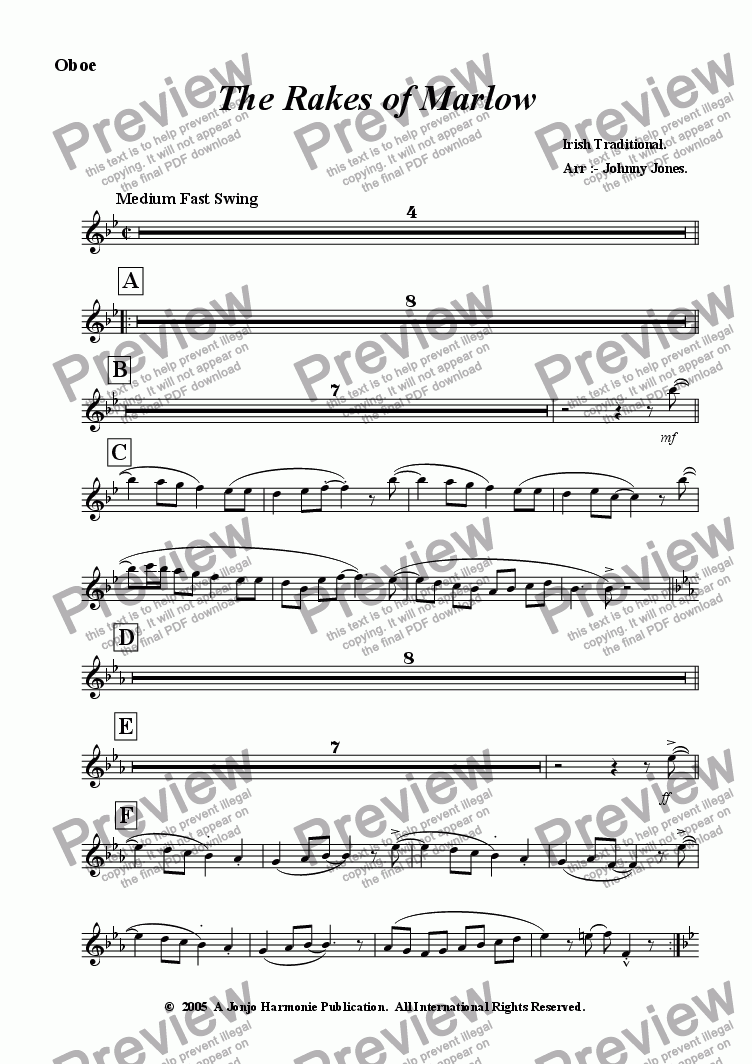 page one of the Oboe part from Rakes of Marlow The   (Concert Windband, Swing Style)
