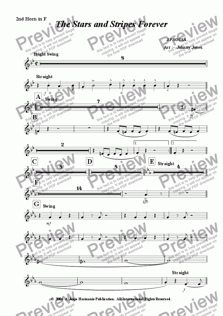 page one of the 2nd F Horn part from Stars and Stripes Forever The   (Concert Windband a la Big Band Swing)