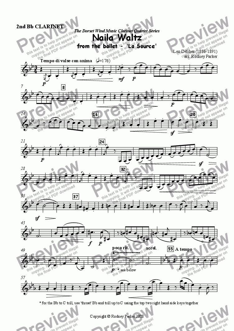 page one of the 2nd Bb Clarinet part from Naila Waltz arr. for Clarinet Quartet
