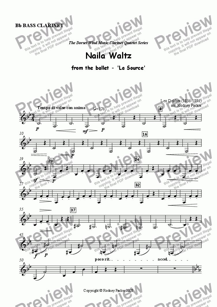 page one of the Bass Clarinet part from Naila Waltz arr. for Clarinet Quartet
