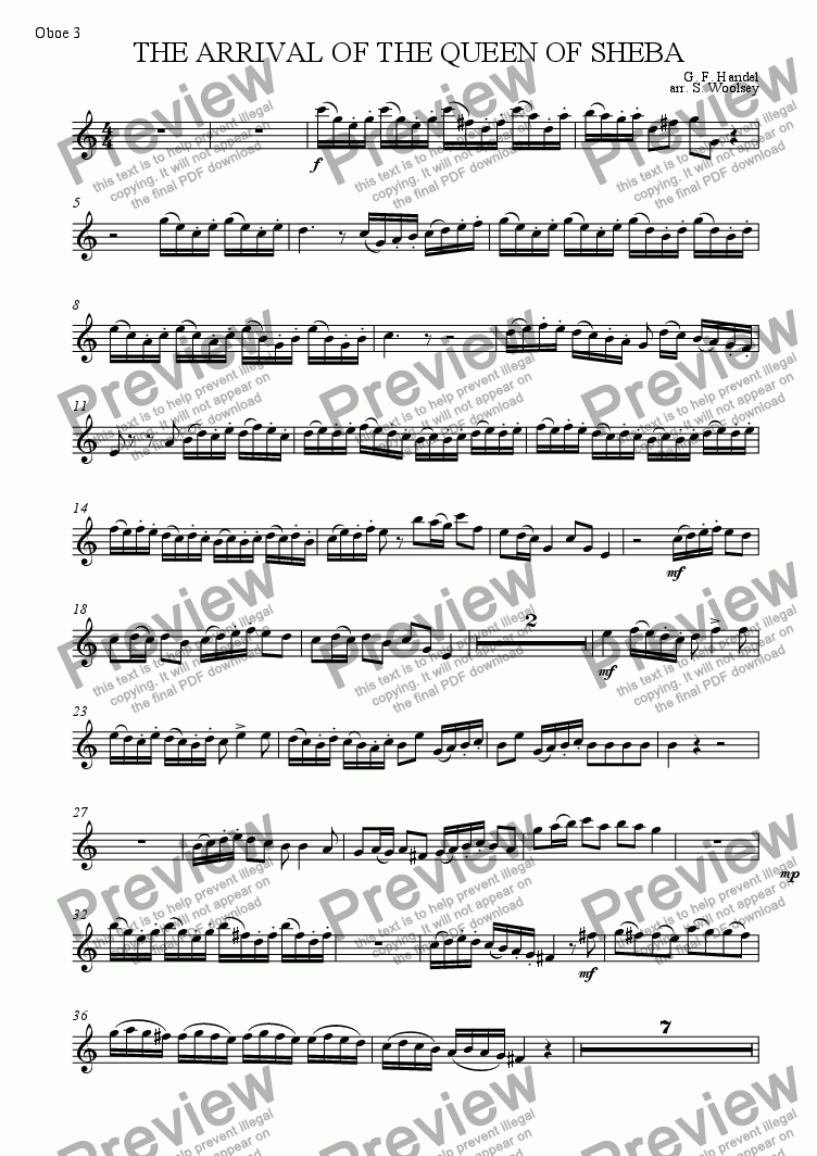 page one of the Oboe 3 part from The Arrival of the Queen of Sheba for Double Reed Ensemble
