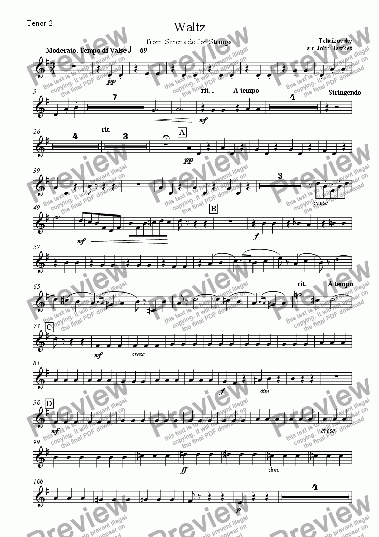 page one of the Tenor 2 part from Tchaikovsky: Waltz from Serenade for Strings