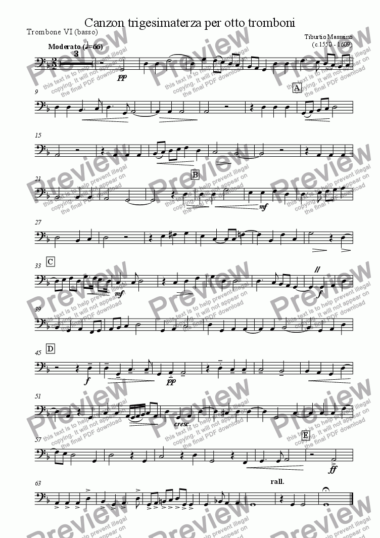 page one of the Trombone 6 (bass) part from Canzon trigesimaterza for trombone octet