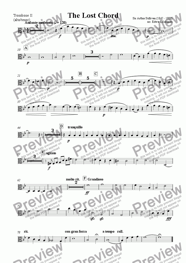 page one of the Trombone 2 (alto or tenor) part from The Lost Chord for solo trombone and trombone septet