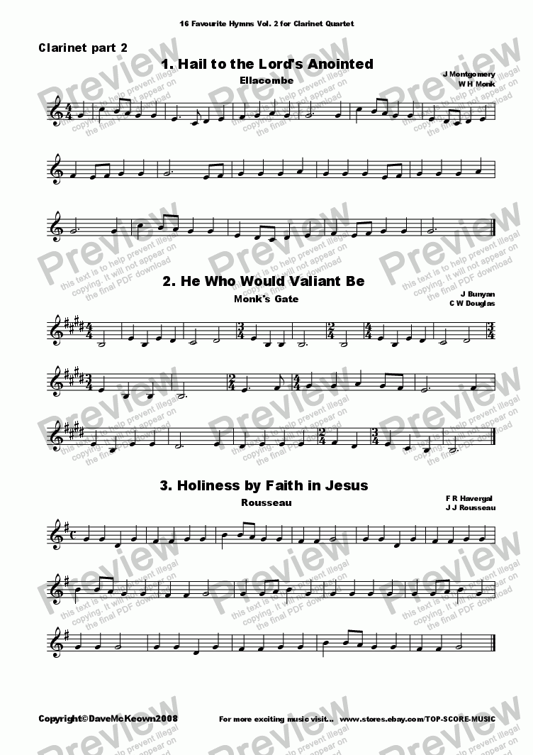page one of the Clarinet 2 part from  16 Favourite Hymns Vol.2 for Clarinet Quartet