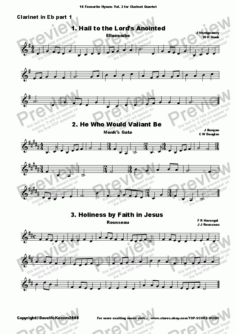 page one of the Eb Soprano Clarinet 1 part from  16 Favourite Hymns Vol.2 for Clarinet Quartet