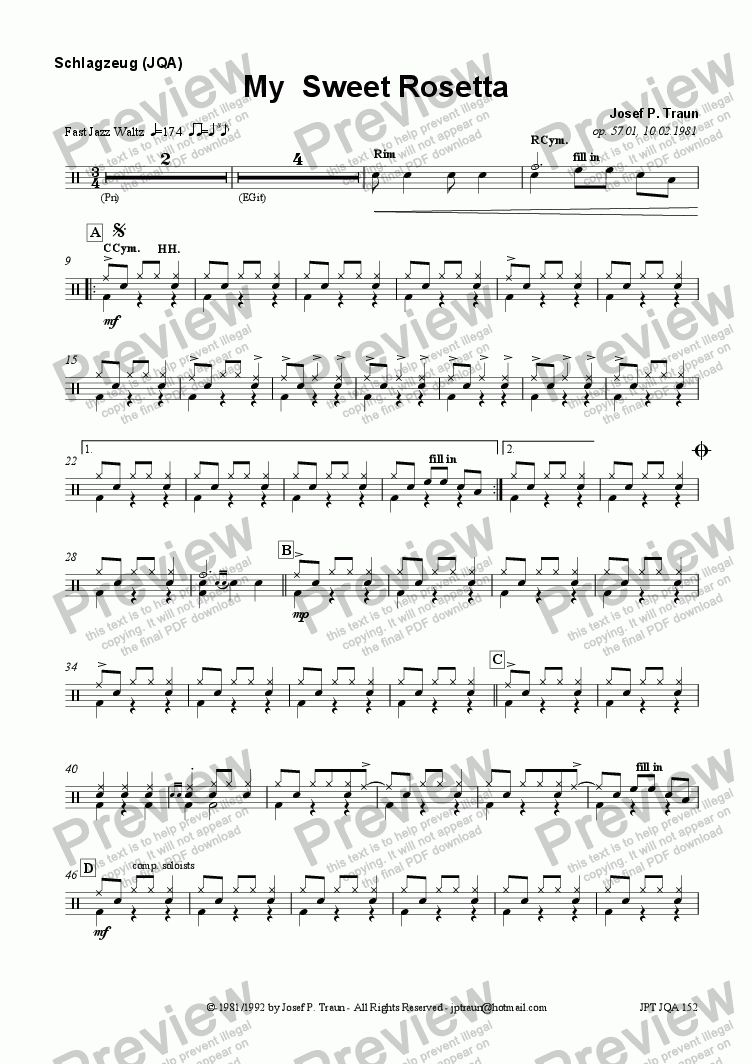 page one of the Drums (JQA) part from My Sweet Rosetta (JQA/Score & Parts)