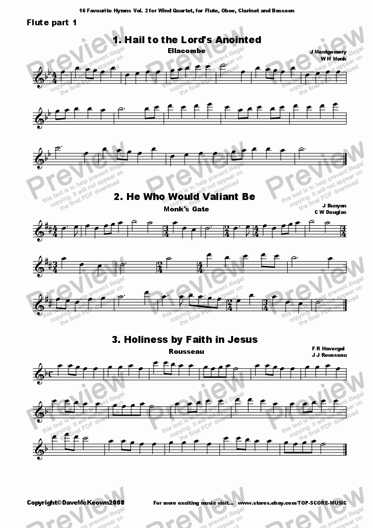 page one of the Flute 1 part from  16 Favourite Hymns Vol.2 for Wind Quartet