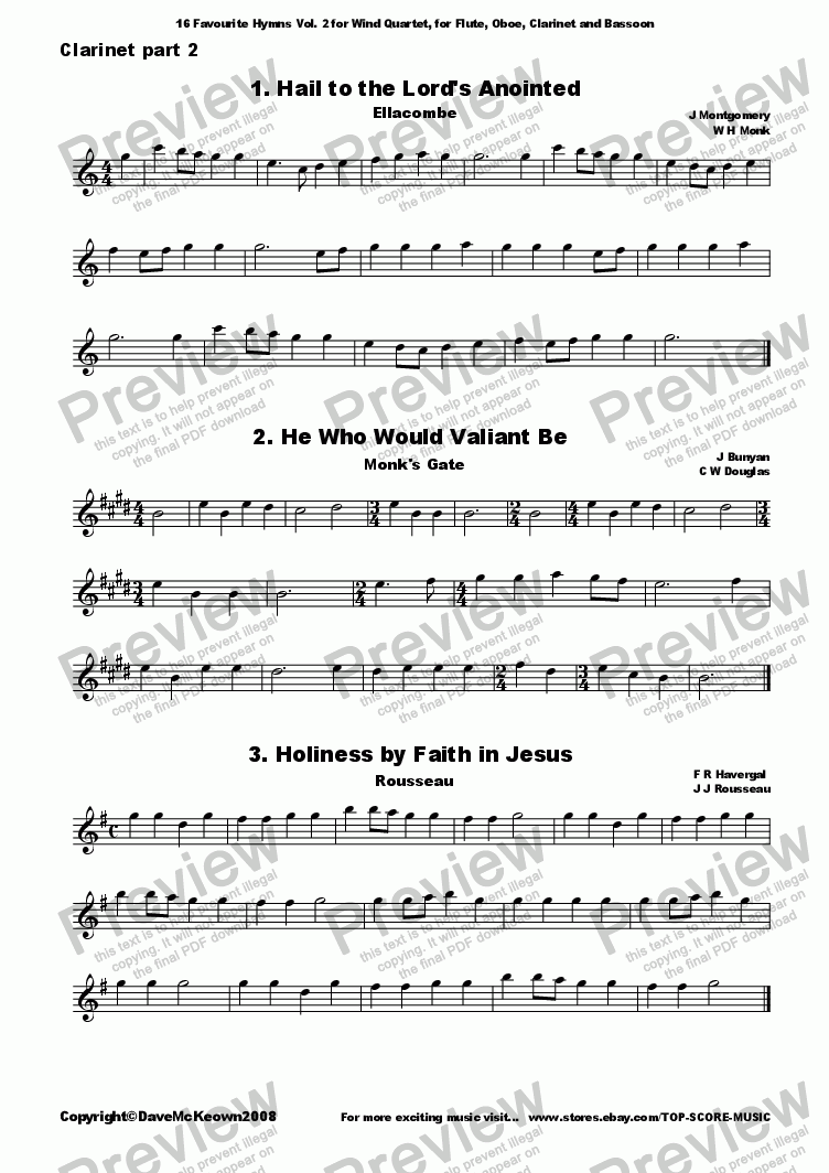 page one of the Clarinet 2 part from  16 Favourite Hymns Vol.2 for Wind Quartet