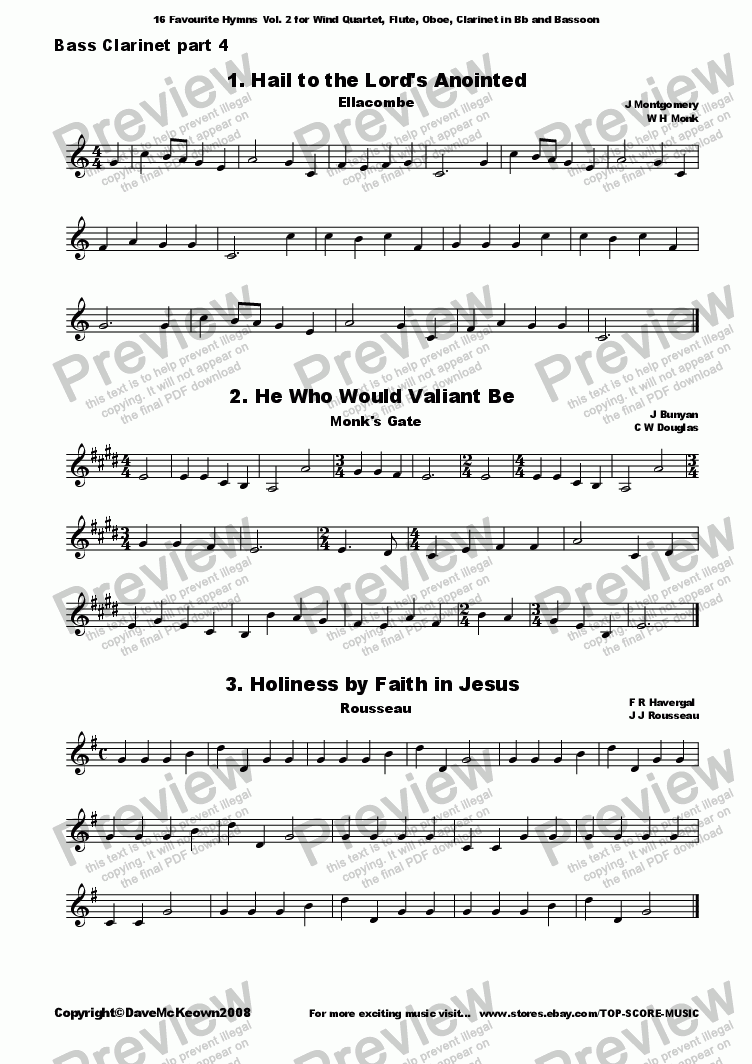 page one of the Bass Clarinet 4 part from  16 Favourite Hymns Vol.2 for Wind Quartet
