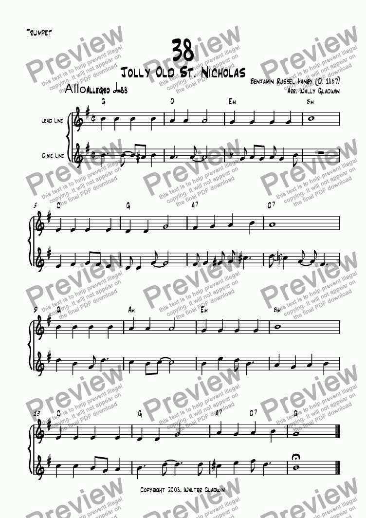 page one of the Trumpet part from Dixiechart 38. Jolly Old St. Nicholas