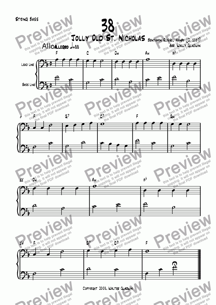 page one of the Bass part from Dixiechart 38. Jolly Old St. Nicholas