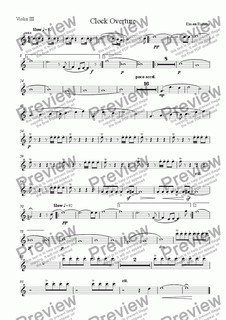 page one of the Violin III part from Clock Overture