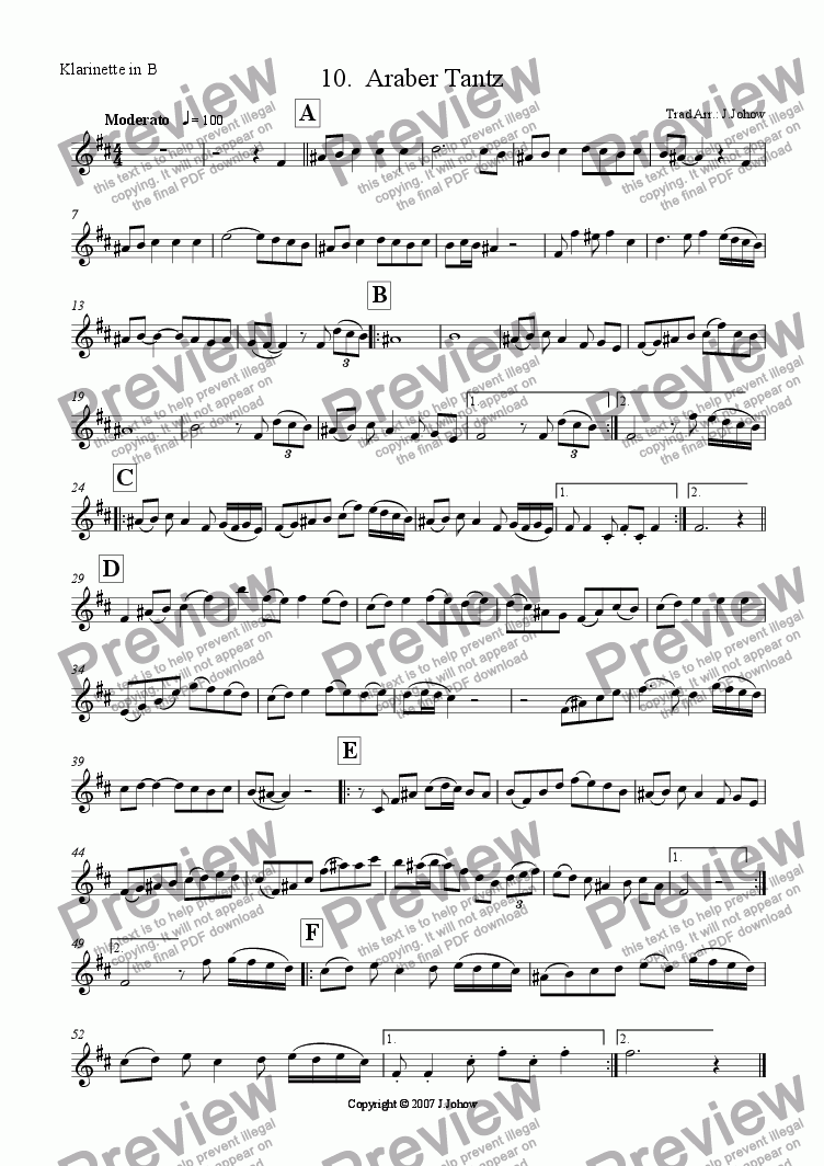 page one of the Cl B part from My Klezmer Book 10 (Araber Tantz)
