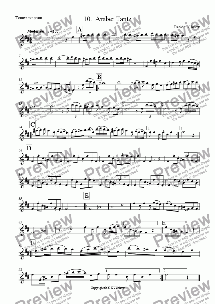 page one of the Ten Sax part from My Klezmer Book 10 (Araber Tantz)