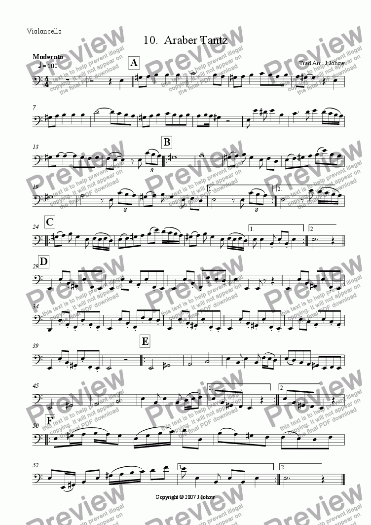 page one of the Vlc part from My Klezmer Book 10 (Araber Tantz)