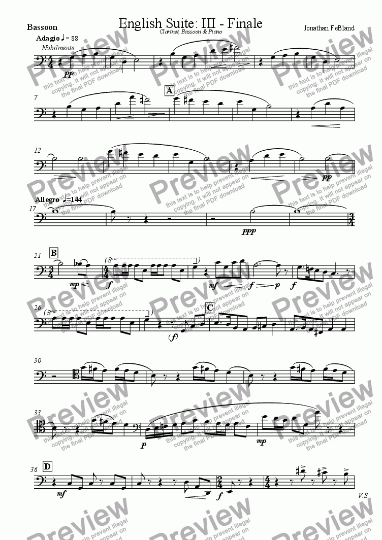 page one of the Bassoon part from English Suite (III) Adagio - Allegro