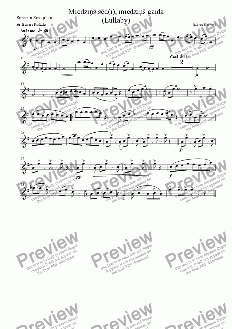 page one of the Soprano Saxophone part from Lullaby