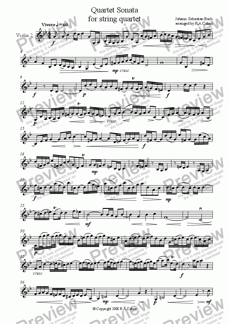 page one of the Violin 2 part from Bach - QUARTET SONATA - for string quartet