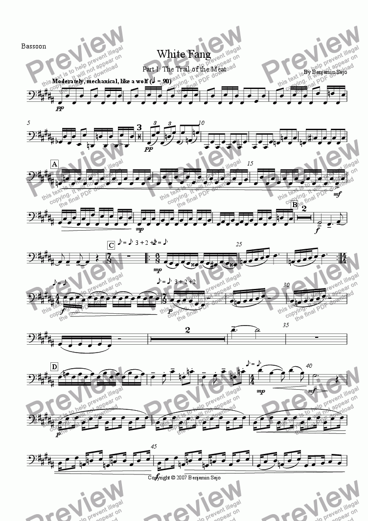 page one of the Bassoon part from White Fang: Part 1 - The Trail of the Meat