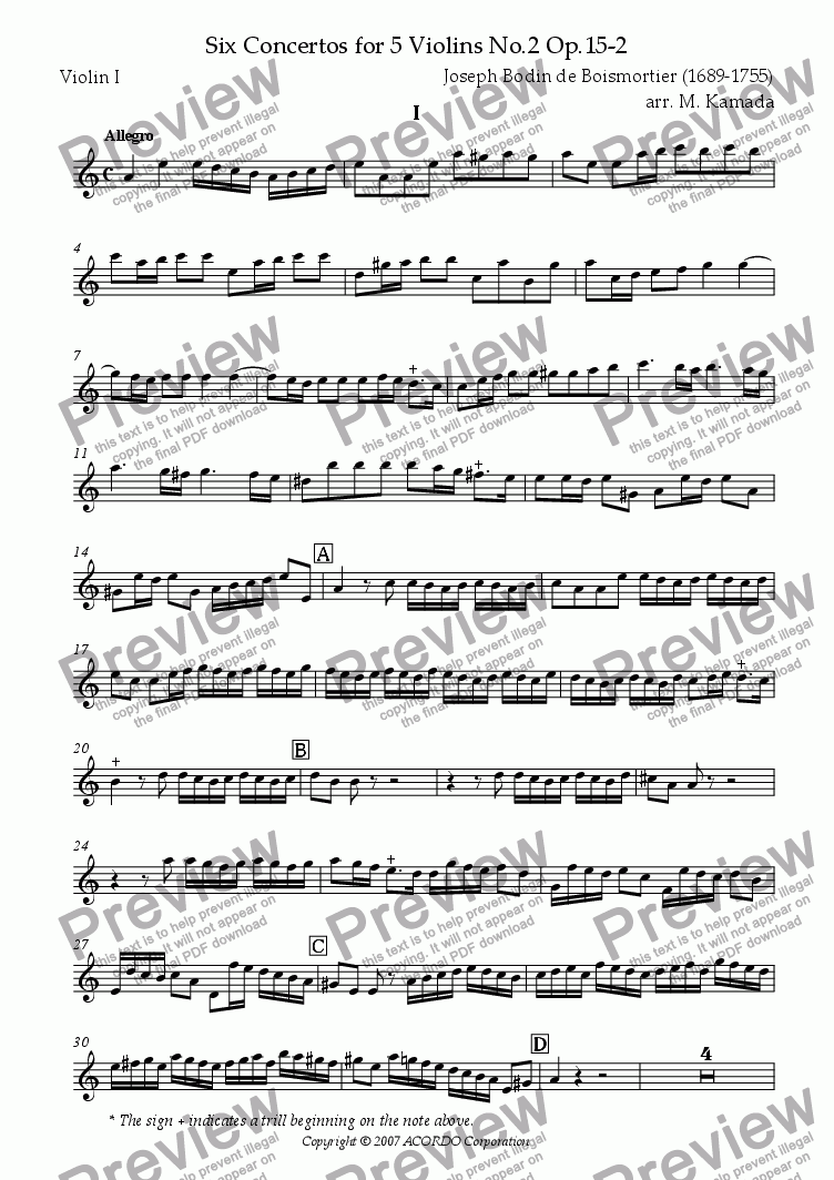 page one of the Violin I part from Six Concertos No.2 for five Violins Op.15-2