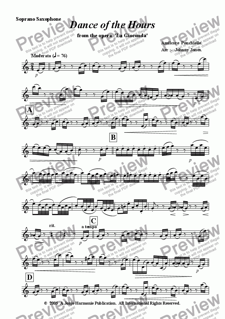 page one of the Soprano Saxophone part from Dance of the Hours   (Soprano Saxophone and Piano)