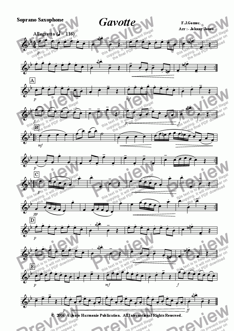 page one of the Soprano Saxophone part from Gavotte   (Soprano Sax and Piano)