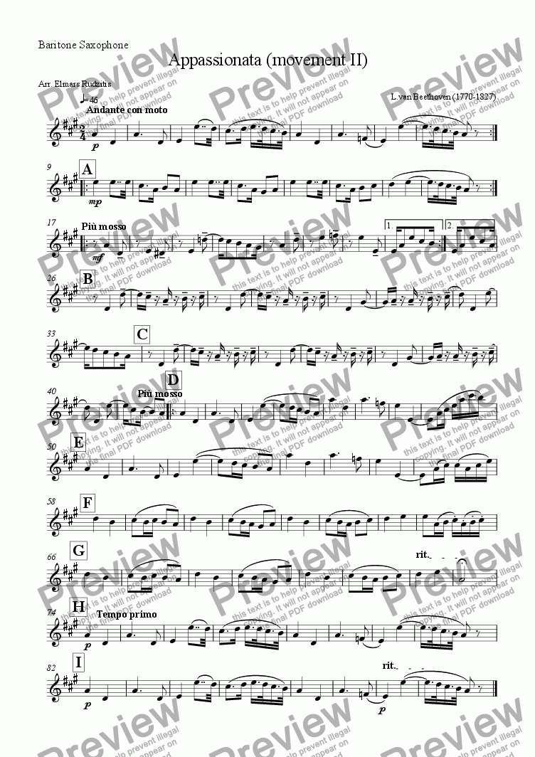 page one of the Baritone Saxophone part from Appassionata (Andante con moto)