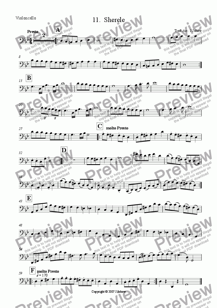 page one of the Vlc part from My Klezmer Book 11 (Sherele)