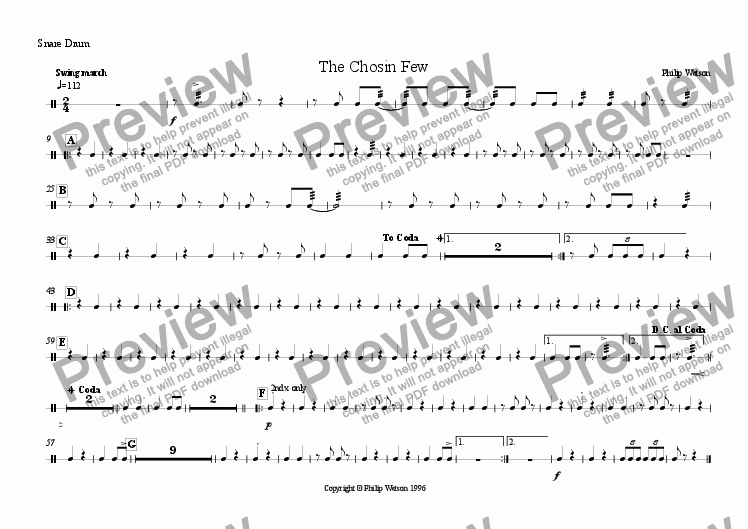 page one of the Snare Drum part from The Chosin Few