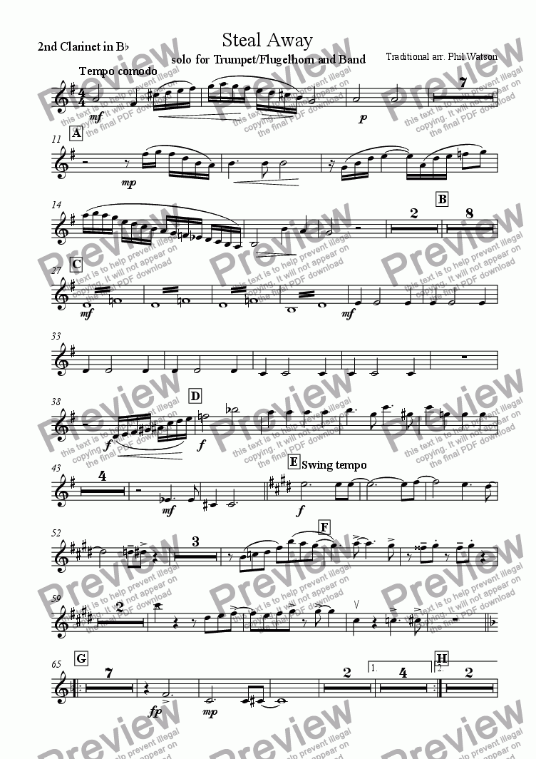 page one of the 2nd Bb Clarinet part from Steal Away