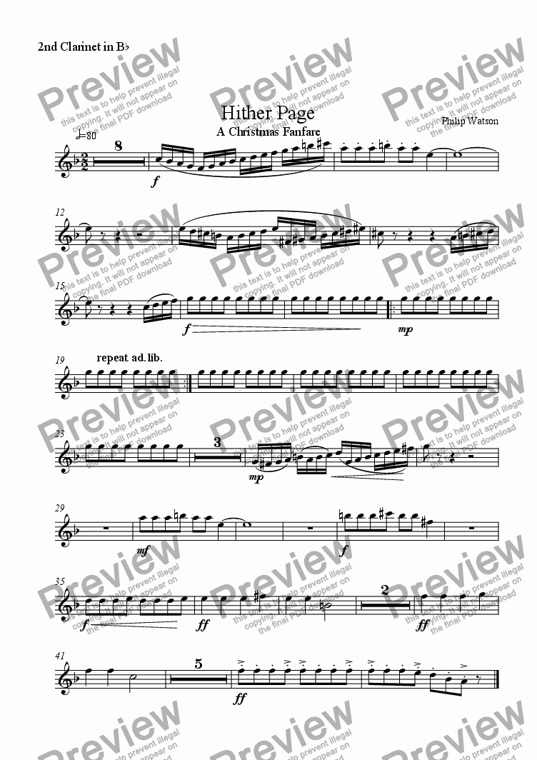 page one of the 2nd Bb Clarinet part from Hither Page - Christmas Fanfare