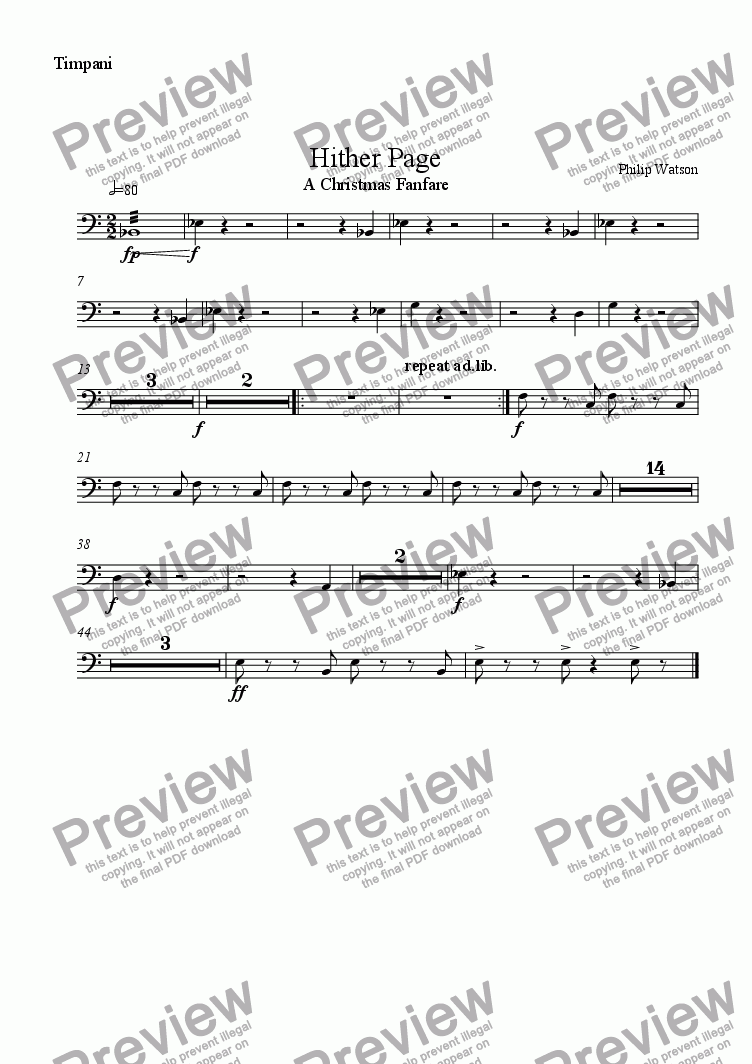 page one of the Timpani part from Hither Page - Christmas Fanfare