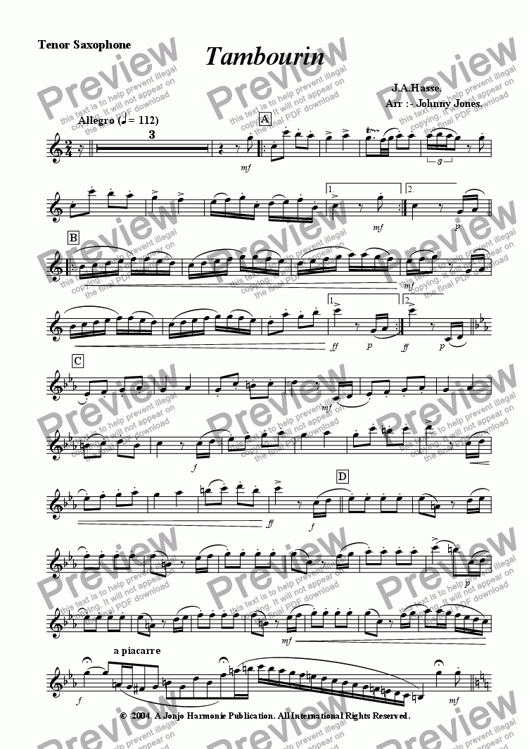 page one of the Tenor Saxophone part from Tambourin   (Hasse's,  Tenor Sax and Piano)