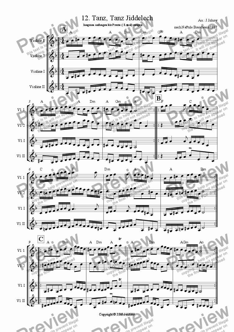 page one of the Vl tutti part from My Klezmer Book 12 (Tanz, Tanz Jiddelech)