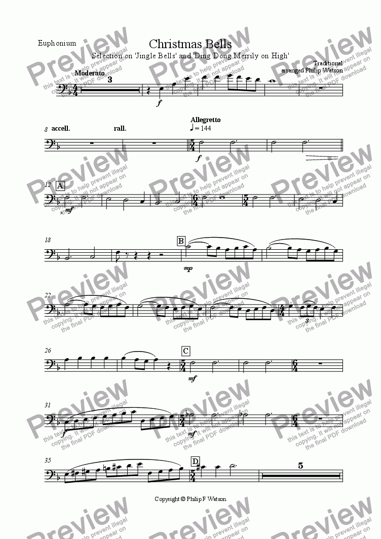 page one of the Euphonium part from Christmas Bells